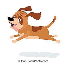 chien, illustration, courant, vecteur, white., dessin animé