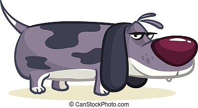 chien, illustration., rigolote, dessin animé, beagle