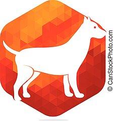 chien, logo, vecteur, icône