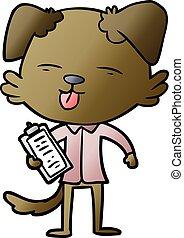 chien, planche, agrafe, dessin animé
