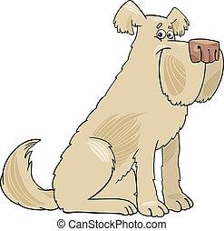 chien, poilu, dessin animé, illustration, sheepdog
