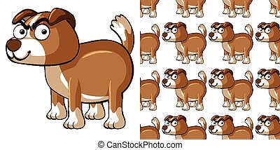 chien, seamless, fond, brun, conception
