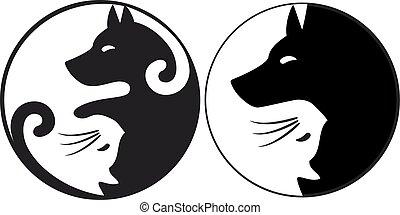 chien, symbole, yin, chat, vecteur, yang