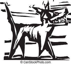 chien, woodcut