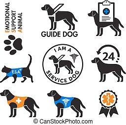 chiens, emblèmes, service, émotif, animaux, soutien