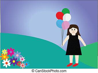 chiffon, différent, jouet, poupée, coloré, cinq, tenue, ballons