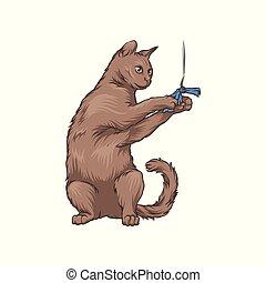 chiffon, fil, brun, chouchou, illustration, chat, vecteur, mignon, playng, animal, dessiné, main