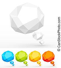 chiffonné, bulles, parole, coloré