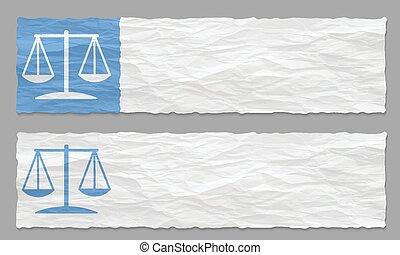 chiffonné, ensemble, symbole, deux, papier, bannières, droit & loi