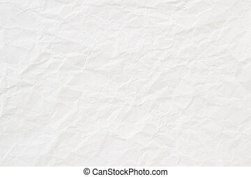 chiffonné, texture, papier, fond, blanc, ou