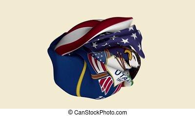 chiffonné, usa, intro., utah etat, tissu, drapeau