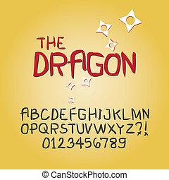 chiffre, alphabet, résumé, vecteur, griffonnage, dièse
