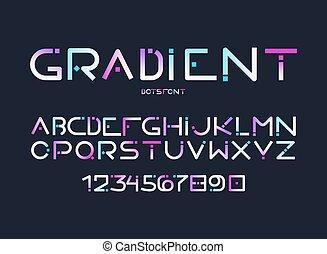 chiffres, gradient, alphabet, lettres, vecteur, anglaise