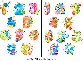 chiffres, puéril, dessin animé, nombres