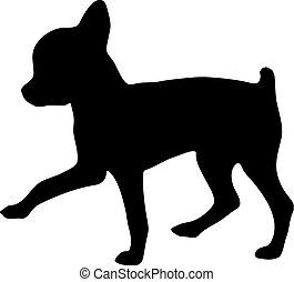 chihuahua., silhouette, illustration, vecteur