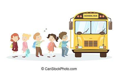 children., autobus, école
