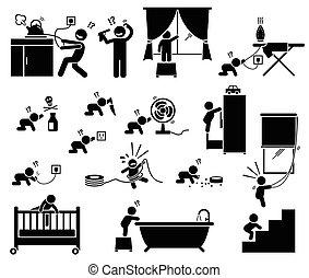 children., maison, sécurité, danger