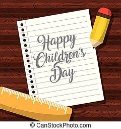 childrens, bois, noter papier, table, jour, heureux