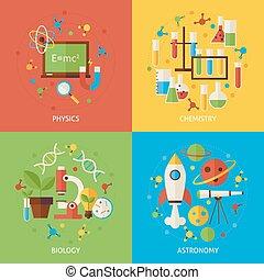 chimie, concepts, physique, ensemble, biologie, astromomie, plat