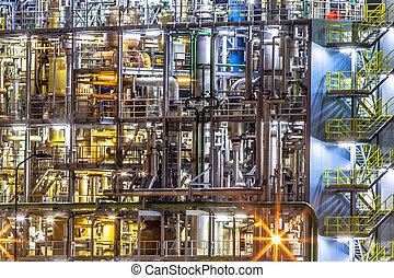 chimique, détails, industrie, usine, nuit