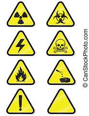chimique, ensemble, avertissement, signs.