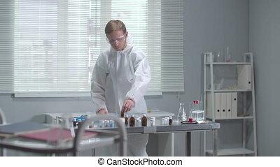 chimique, essai, protecteur, tube, chèque, workwear, laboratoire, homme