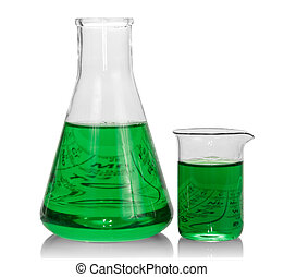 chimique, flacons, vert, liquide