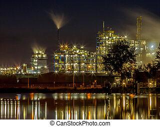 chimique, industriel, reflet, détail, usine, eau