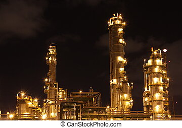 chimique, industriel, scène, nuit
