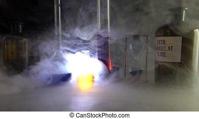 chimique, laboratoire, smoke., couvert