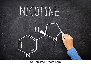 chimique, structure, tableau noir, nicotine, molécule