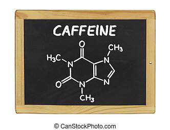 chimique, tableau noir, caféine, formule