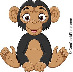 chimpanzé, mignon, dessin animé, séance bébé