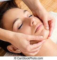 chin., masage, femme, facial, délassant