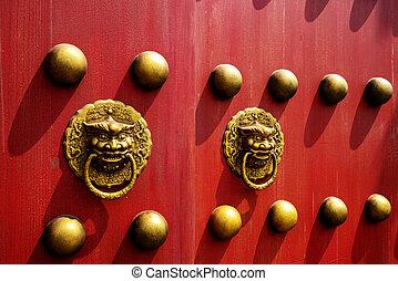china., bâtiments, portes, rouges, historique, beijing