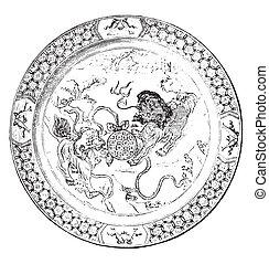 (china), plat, engraving., polychrome, vendange, porcelaine