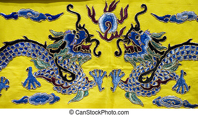 chinois, broderie, dragon