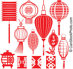 chinois, collection, lanterne