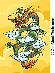 chinois, coloré, illustration, dragon