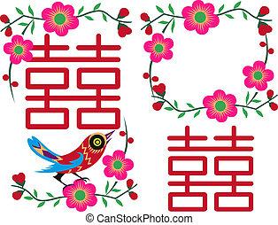 chinois, conception, oiseau, carte, salutation