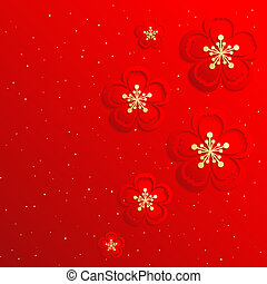 chinois, fleur, cerise, oriental, fond, année, nouveau