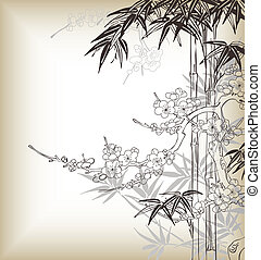 chinois, fond, arbre