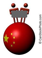 chinois, gens, signe, sphère, drapeau, tenue