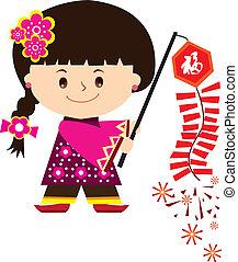 chinois, girl, nouvel an