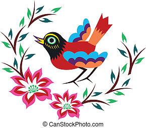 chinois, oiseau, oriental, arbre
