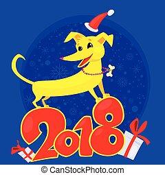 chinois, symbole, chien, jaune, année, 2018., nouveau, zodiaque