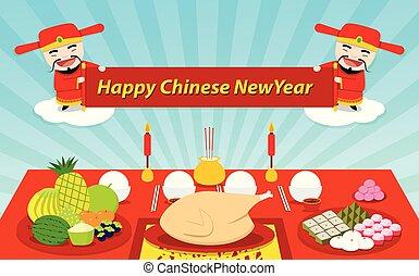 chinois, table, nourriture, vecteur, année, nouveau, ensemble