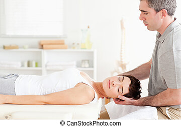 chiropracteur, femme, charmer, étirage