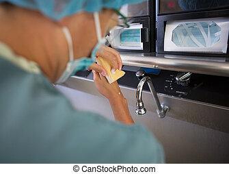 chirurgie, mains, lavage, docteur, avant