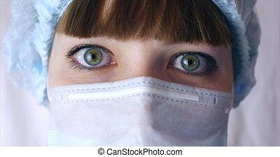 chirurgien, docteur, hôpital, ou, opération, docteur, prêt, fin, portrait, clinic., yeux, haut, femme, masque